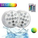 2 Stück Unterwasser Licht, Multi Farbwechsel Wasserdichte LED Leuchten Drahtlos Tauch-LED-Leuchten für Vasenbasis,...