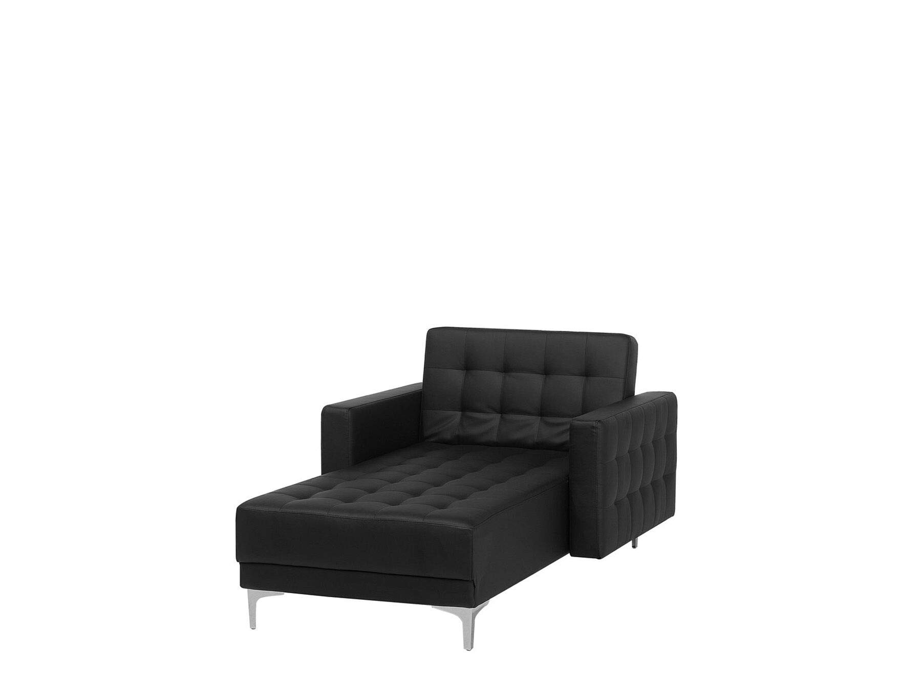 Beliani Moderne Chaiselongue Kunstleder schwarz Aberdeen