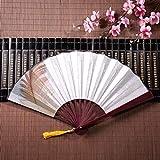 WYYWCY Ventilatore di bambù Portatile Indipendente Belle Piume con Cornice di bambù Pendente di Nappa e Borsa di Stoffa Ventilatori a Mano Ventagli di Carta economici Ventilatori Cinesi Decorazioni