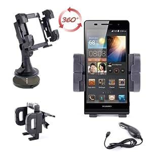 Support 3 en 1 voiture pour téléphone portable / smartphone Huawei Ascend P6 - grille d'aération, pare-brise & tableau de bord + chargeur allume-cigare BONUS