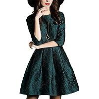 ZQQ La signora europea e la vita in stile americano era manicotto sottile abito jacquard girocollo , picture color , s