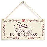 """Shhh. Session In Progress Pretty Love Heart Frame Design Be Quiet Privacy Sign, Plaque Wooden Hanging Sign 6""""x14""""."""