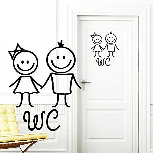 Wandtattoo Loft Türaufkleber: WC Frau und Mann / 20 x 24 cm / 49 Farben / schwarz / HERGESTELLT IN UND VERSAND AUSSCHLIESSLICH AUS DEUTSCHLAND!!! (Tür Entwurf Hält)