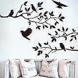 Pegatina de pared adhesivo ramas de arbol y pajaros color negro