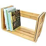 Scaffale per Libri Espandibile, Organizzatore da Scrivania Realizzato in Bambù Naturale (senza Cassetti)