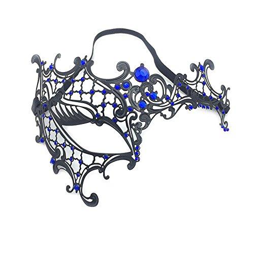 (ParttYMask Maskerade,Gold Metall Diamanten Make-up Abschlussball Silvesterparty Maske halb Gesicht für Männer und Frauen Venedig Metall Schmiedeeisen Maske 3 Masquerade)