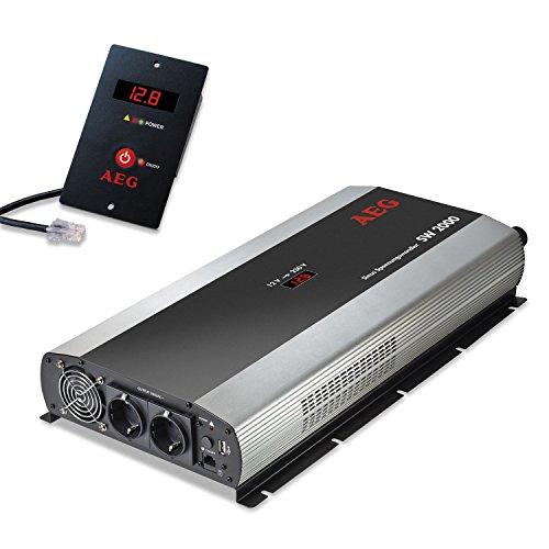 aeg-automotive-97123-sinus-spannungswandler-sw-2000-12-volt-auf-230-volt-mit-lc-display-usb-ladebuch