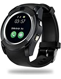 CELESTECH V8 Smartwatch With SIM Card, 32 GB Memory Card Slot And Fitness Tracker (Black Strap Free Size)