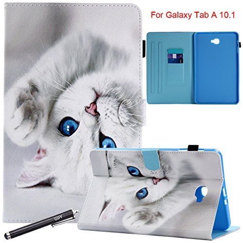 10.1 Fall, newshine Smart Auto Sleep/Wake Portfolio Case Flip Stand Cover für Samsung Galaxy Tab A 25,7 cm Tablet (sm-t580/T585) 2016 Release, 2 Blue Eye Cat ()