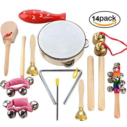 15 pezzi Strumenti musicali per bambini Strumenti a percussione Set principale con borsa per il trasporto
