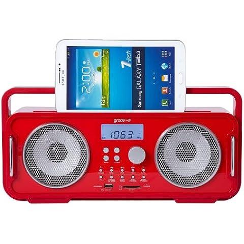 Groov-e GV-SP480-RD altavoz portátil - Altavoces portátiles (Inalámbrico y alámbrico, Batería, Bluetooth/3.5 mm, Mobile phone / Smartphone, Rojo, Bluetooth)