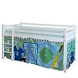 Homestyle4u 1539, Kinder Hochbett Mit Leiter, Vorhang Blau Grün, Massivholz Kiefer Weiß, 90x200 cm