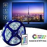 Tira LED TV 2.2M, OMERIL 5050 Tiras LED USB Impermeable con Control Remoto, 16 RGB Colores y 4 Modos, Retroiluminacion LED de TV para Cine en Casa, HDTV/PC Monitor (40-60 Pulgada) - 2x50cm+2x60cm