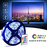 Retroilluminazione TV LED, OMERIL 2.2M Impermeabile Striscia LED RGB 5050 con Telecomando RF per HDTV da 40-60 Pollici, Striscia luminosa LED alimentata USB con 16 Colori per TV e PC a Schermo Piatto