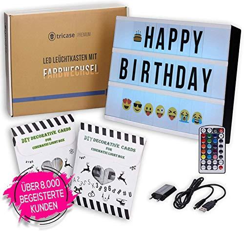 LED Lightbox mit Buchstaben - A4 Leuchtkasten mit Farbwechsel, MEGA Set inkl. 173 Buchstaben, 85 farbige Emojis, 1,5m USB Kabel, Netzteil, Fernbedienung mit Dimmer, Perfektes Deko Geschenk (standart)