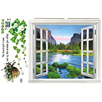 60X90CM Pebble beach vacation wall sticker fake window wall poster decorative poster