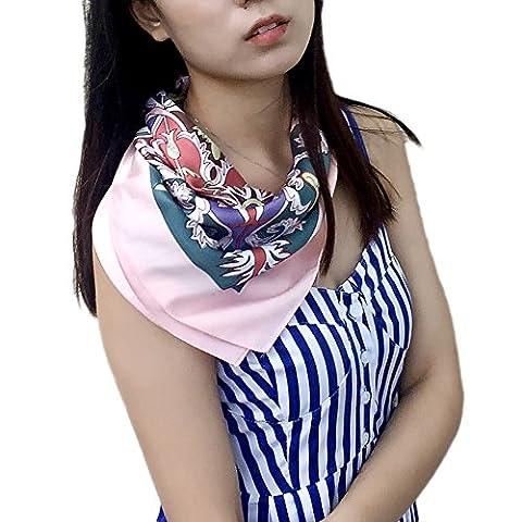 Fashion Attack New Designer Women Crown Floral Printed Square Scarf Head Wrap Shawl Poncho Neckerchief 90cm x 90cm (Blue)