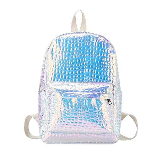 Onemoret borse da viaggio laser zaini per donne grande capacità Fashion Girls olografico in pelle cartella spalla Borsa da viaggio di alta qualità, Silver