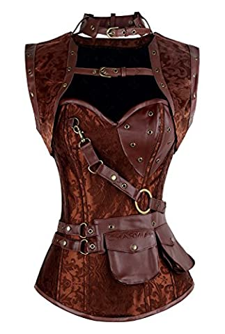 Charmian Women's Plus Size Retro Goth Spiral Steel Boned Brocade Steampunk Bustiers Corset with Jacket and Belt Brown XXXXX-Large
