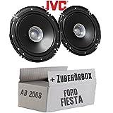Lautsprecher Boxen JVC CS-J610X - 16cm Auto Einbauzubehör 300Watt Koaxe KFZ PKW Paar - Einbauset für Ford Fiesta MK7 Front Heck - JUST SOUND best choice for caraudio