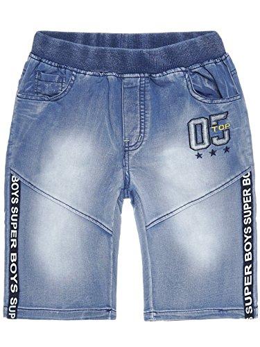 Jogg Jeans Jungen Freizeit Shorts Kinder Strech kurze Bermuda Capri Hose 22649, Farbe:Blau, Größe:140 (Waschen Relaxed Jeans Fit)