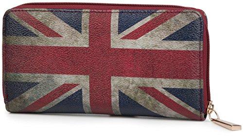 styleBREAKER Union Jack Designer Geldbörse im Großbritannien Vintage Design mit Reißverschluss, Damen 02040021, Modell-3 (Handtasche Union Damen Jack)