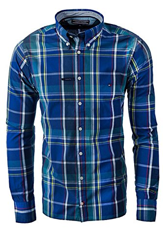 TOMMY HILFIGER CUSTOM FIT Camicia Uomo maniche Lunghe colore NAVY (XXL, NAVY MONTANA)