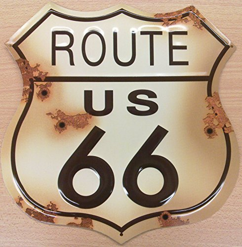 Route 66 (Route 66 Schild verwitterten Blechschild (shot at) sf)