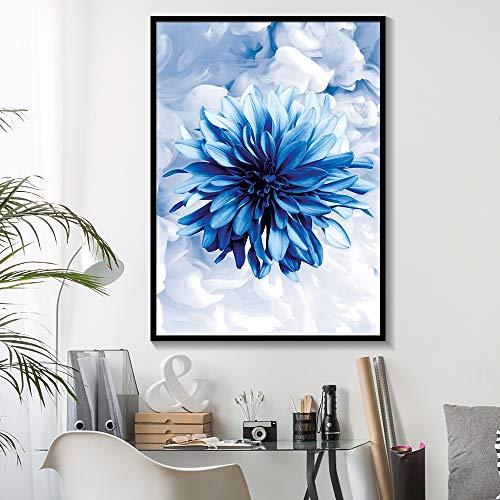 RTCKF Nordico Moderno Minimalista Fiore Blu e Bianco Decorazioni per la casa Tela Pittura realismo Poster e Stampe Decorazione Soggiorno (Senza Cornice) A6 70x100 cm