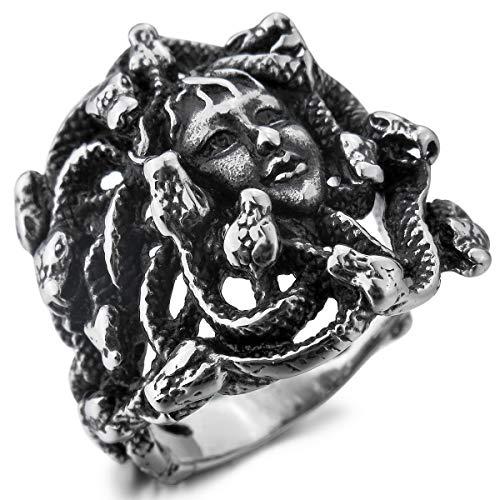 MunkiMix Edelstahl Ring Silber Ton Schwarz Griechische Mythologie Medusa Schlangen Größe 57 (18.1) Herren