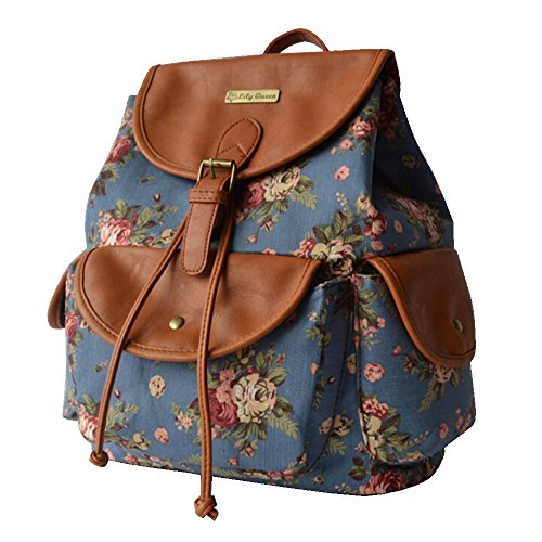 BYD - Donna Female zainetto backpack School Bag Travel Bag Printed Flower Design with Metal Brand Card and PU Leather Flip Blu