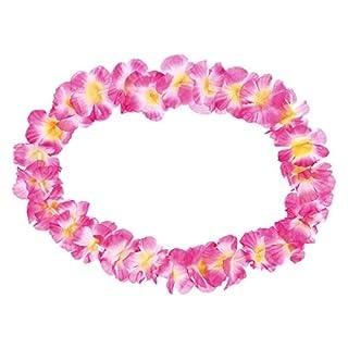Alsino 24er Set Hawaiiketten pink Havaii Hawei Ketten Blumenketten - 50 cm Durchmesser, JGA Accessoires Junggesellinnenabschied - Hawaii Beach Karibik Deko HK-09