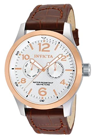 Invicta Men's I-Force Quartz Watch with Silver Dial Chronograph Display and Brown Leather Strap 13010