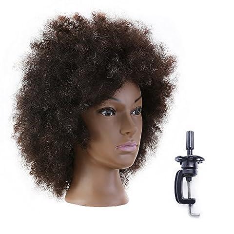 Afro Tête À Coiffer Coiffure 100% Cheveux Naturel Cosmétologie Pratique Femme Mannequin Poupée Têtes D'exercice + Titulaire EHI0210D
