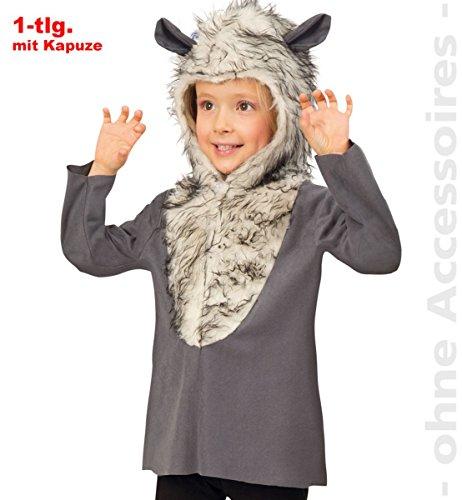 Unbekannt Kinder Kostüm Wolf Oberteil mit Kapuze Karneval Fasching Gr.116