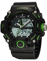 Reloj para hombres - OHSEN Reloj para hombres, correa de silicona color verde