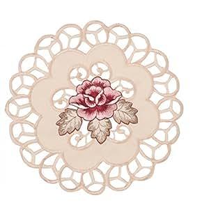 napperon set pour verre tissu motif rose shabby