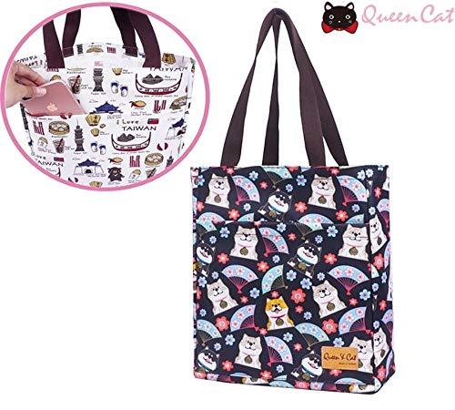 Sac Cabas A4 Simple/Multifonction Sac de Course Toile imperméable Shopping Bag Queen & Cat-Chien Theme Japonais Fond Noir