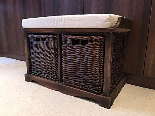 Braun Storage Bench (Braun Holz Vintage Shabby Chic Stauraum Sitzbank Weidenkörbe Kissen)