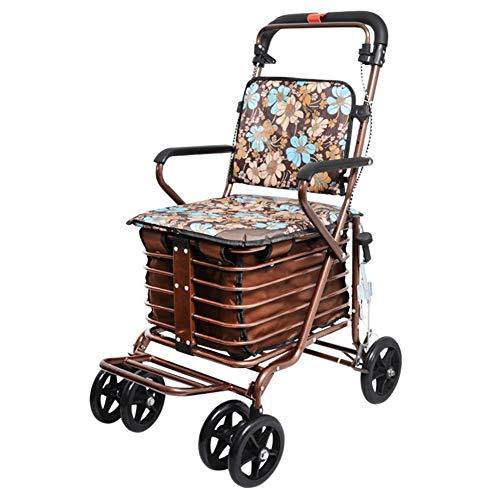 Einkaufstrolleys Faltende Einkaufslaufkatze mit gepolstertem Sitz und Korb, ältere Rollator Walker, höhenverstellbar, Sicherheitsbremse (Farbe : Gold Flower Style)