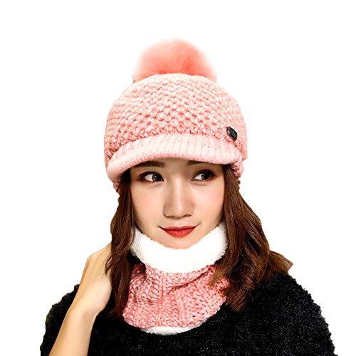 Sombrero y Bufanda Mujer Invierno,TININNA Caliente Gorras con Falso Piel y Scarf de Forro de Lana de Punto de Esquiar para Chicas 2 Piezas-Rosa