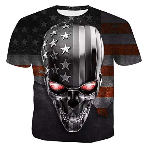 als Tee Herren T-Shirt Männer O-Neck Amerikanische Flagge Skull Head Druckt t-Shirt Tops Blusen Outdoor Gym Casual Muskel Slim Fit Fitness Shirt Oberteil Sweatshirt Persönlichkeit ()