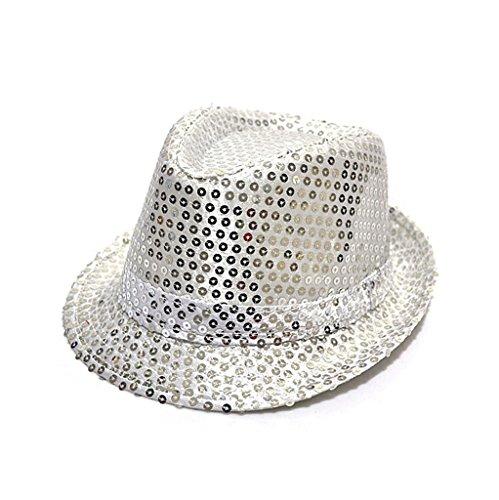 Fashion chapeau panama avec paillettes d'enfants pour la fête(Silver)