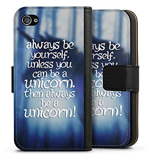 Apple iPhone X Silikon Hülle Case Schutzhülle Einhorn Unicorn Sprüche Sideflip Tasche schwarz