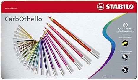 STABILO CarbOthello - Boîte métal de 60 crayons de couleur fusains pastels + taille-crayon - Coloris assortis