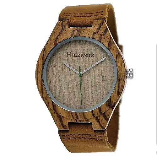 Handgefertigte Holzwerk Germany ® Designer Zebra-Muster Öko Unisex Damen-Uhr Herren-Uhr Öko Natur Holz-Uhr Leder Armband-Uhr Analog Klassisch Quarz-Uhr in Braun -