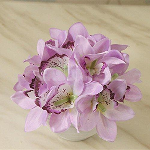 ELECTROPRIME® Artificial Flowers 12 Head Silk Orchids Bush Wedding Bridal Bouquet Foral
