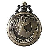 JewelryWe Reloj de Bolsillo Bronce Poker Royal Flush, Reloj de Bolsillo Cuarzo Para Hombre Mujer Con Cadena Larga de 80CM, Regalo de Navidad San Valentín