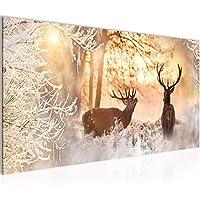 Reh Deko Figur Holz Metall 18x10x3cm natur Xmas Weihnachten Winter Herbst