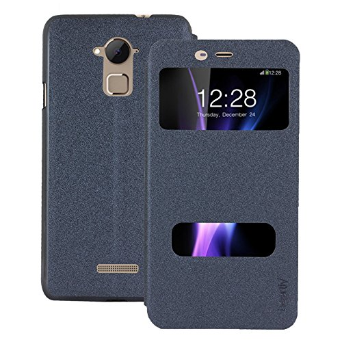 Heartly GoldSand Sparkle Luxury PU Leather Window Flip Stand Back Case Cover For Coolpad Note 3 / Coolpad Note 3 Plus - Best Black